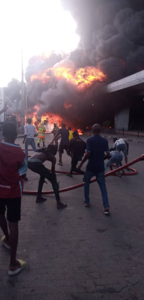 NNPC Tanker Bursts Into Flames At Obalende
