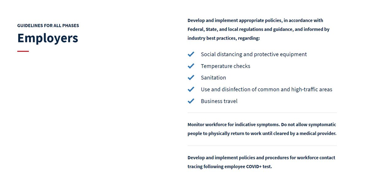 Employers should follow these guidelines - across all phases. More: whitehouse.gov/openingamerica/
