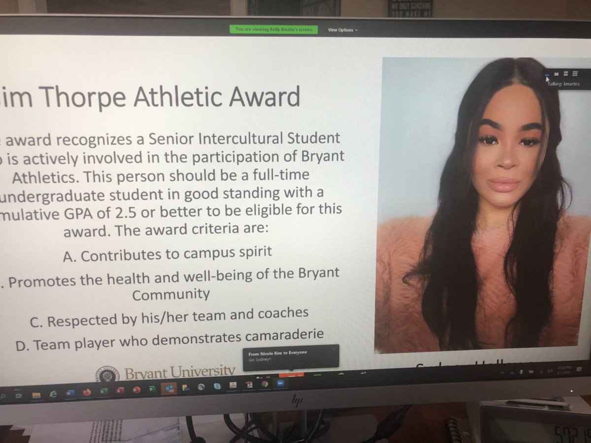 A big congratulations and shout-out to 3 of our amazing student-athletes winning CDI awards! Sydney Holloway @Bryantwbball, Tomas Wright @BryantUFootball, and Nicole Kim @Bryant_Vball. Your compliance team was happy to be watching you win these prestigious awards🤓 https://t.co/LCraTYMU9P