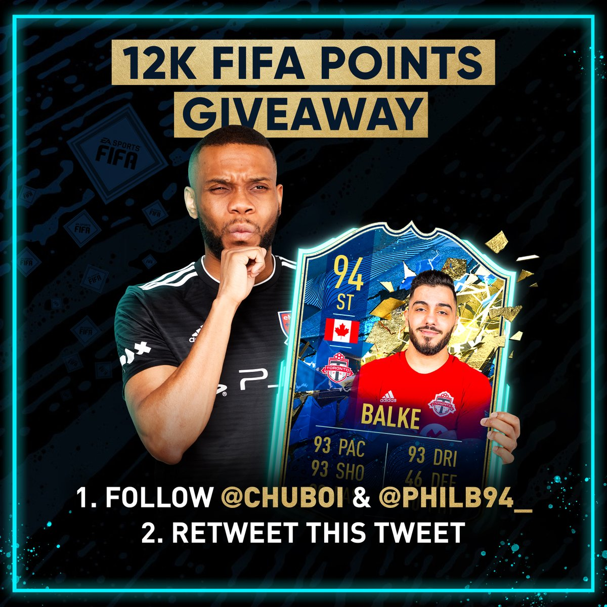 💰 12K FIFA POINT GIVEAWAY! 💰  RETWEET this tweet & FOLLOW myself & @PhilB94_ for a chance to win! 👍🏾  Winner picked Sun May 3rd. ⏰  GOOD LUCK! 👊🏾 https://t.co/R7B4oP1NYy