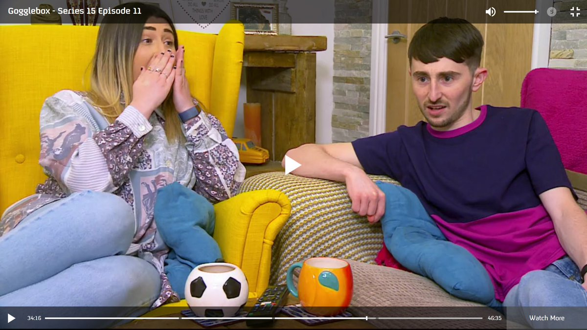 Tonight's top #GoggleboxersReact was going to be Sophie jumping at the throwing knife in Killing Eve. But then they kisses after the bus fight & there were...let's say 2 VERY mixed reactions...Pete. #Gogglebox