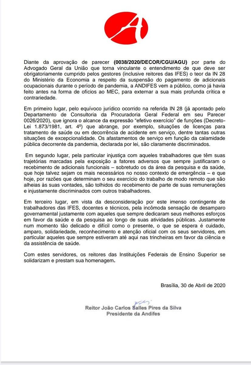 📍Em nota divulgada pela ANDIFES, reitores se solidarizam com servidores. . . . #ufpi #minhaufpi #servidores #andifes #quarentena