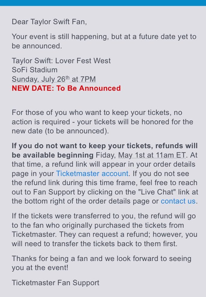 Taylor Swift News On Twitter Refunds For All Rescheduled Loverfest Shows Are Now Available Via Ticketmaster If You Are Wanting A Refund It May Be A Nice Idea To Try