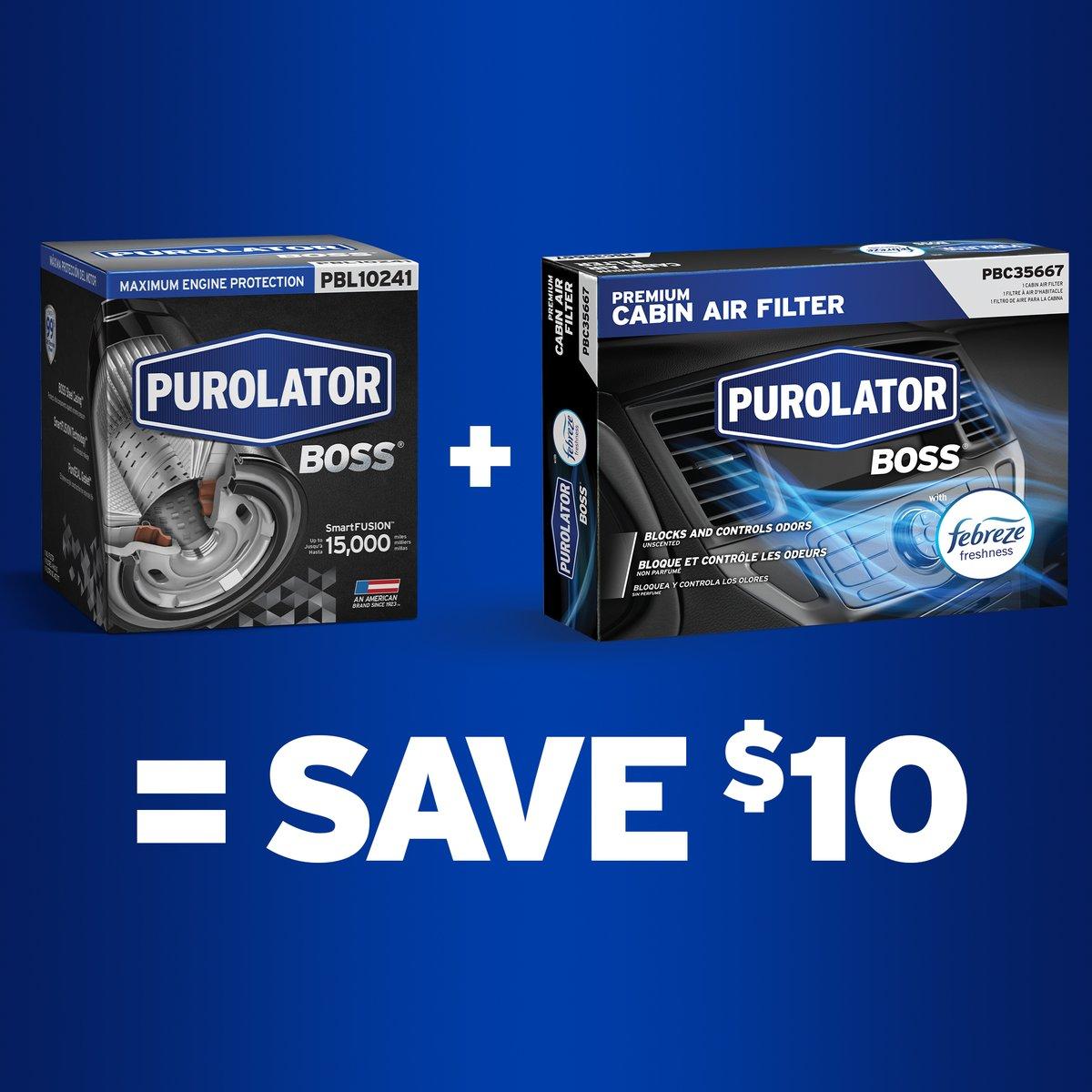 Score $10 when you buy a PurolatorBOSS Premium Oil Filter and a PurolatorBOSS Premium Cabin Air Filter with Febreze Freshness from Advance Auto Parts or Carquest Auto Parts. Click for details:  https://t.co/TgDOhhrBNd https://t.co/3KmFkkZuzf