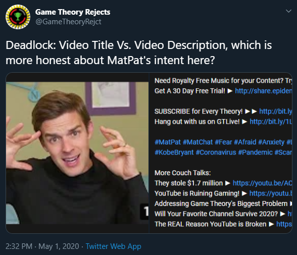 Game Theory Anti Reject On Twitter Matpat Is Talking About His Experience And Fear Of Airplane Travel In A Video That S Not Monetized And You Re Still Acting Like An A Hole Https T Co Ql9mve3vir The visualized social media search, matpat tweets are #visualized on the count of 'likes' and 'retweets' with @thevisualized app 📊 follow for more trending tweets and enjoy the visualization here at , thevisualized, social media search, visualization, youtube videos, twitter tweets, #data, #dataviz, #metrics game theory anti reject on twitter