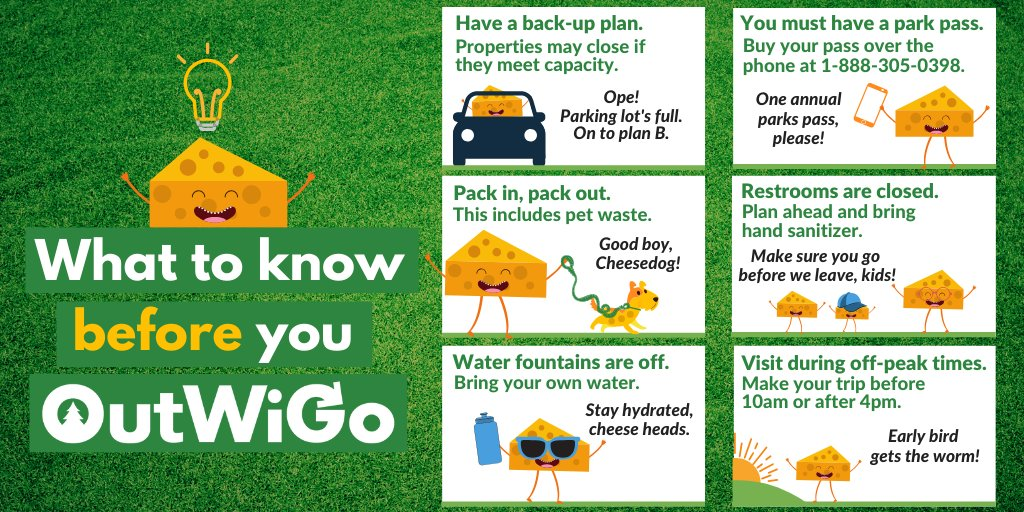 Here's what you need to know before you #OutWiGo this weekend! Learn more at dnr.wi.gov/covid-19/