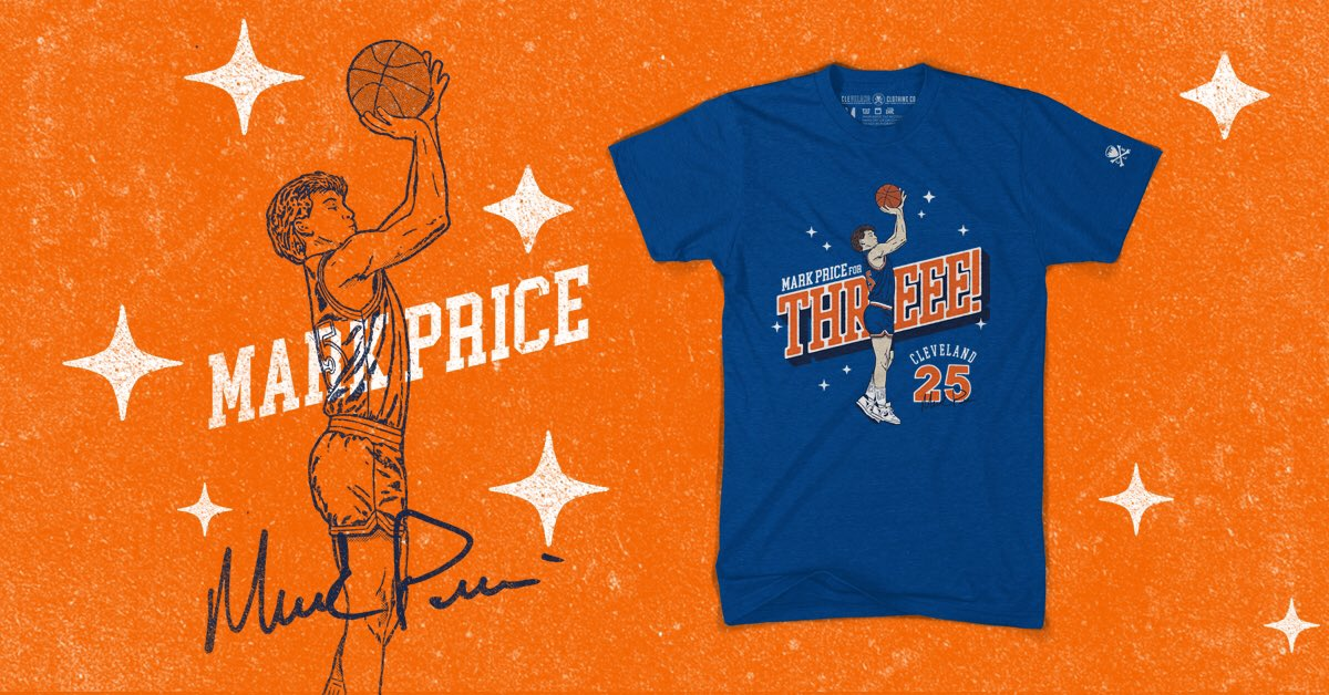"NEW ARRIVAL FRIDAY! We are extremely proud and honored to team up with legendary Cavalier @Mark25Price on releasing his new ""Price for Threee"" shirt.  20% from every shirt sold will be donated directly to the Greater Cleveland Food Bank. Get yours here -  https://t.co/oX0erSHUd7 https://t.co/IBLA8Jb2Ts"