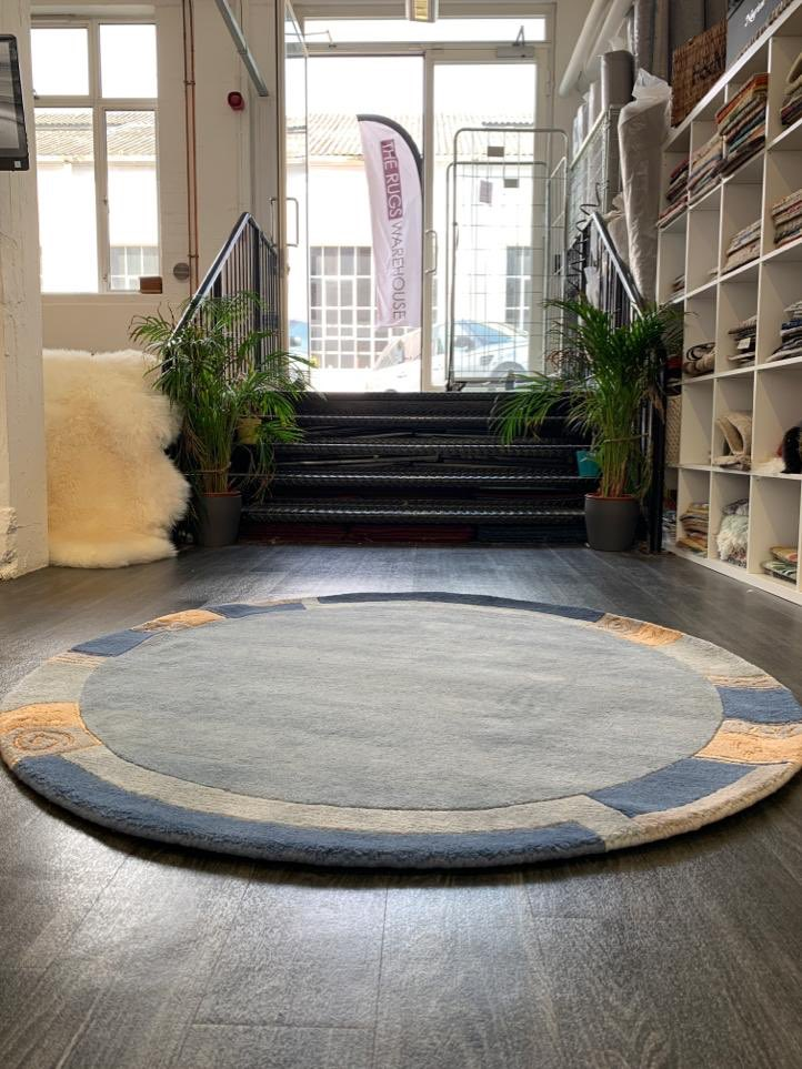 Blue Circle Rug Hand Knotted Wool