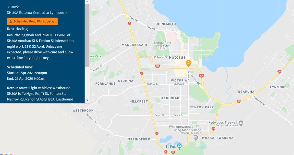 PLAN AHEAD: SH30A will be CLOSED overnight for essential road resurfacing works at the SH30A Amohau St and Fenton St intersection in Rotorua from 9pm to 6am on 21-22 Apr. Detours and more information is available here: https://t.co/572p0vn56e. ^MF https://t.co/jcgtqcd3VU