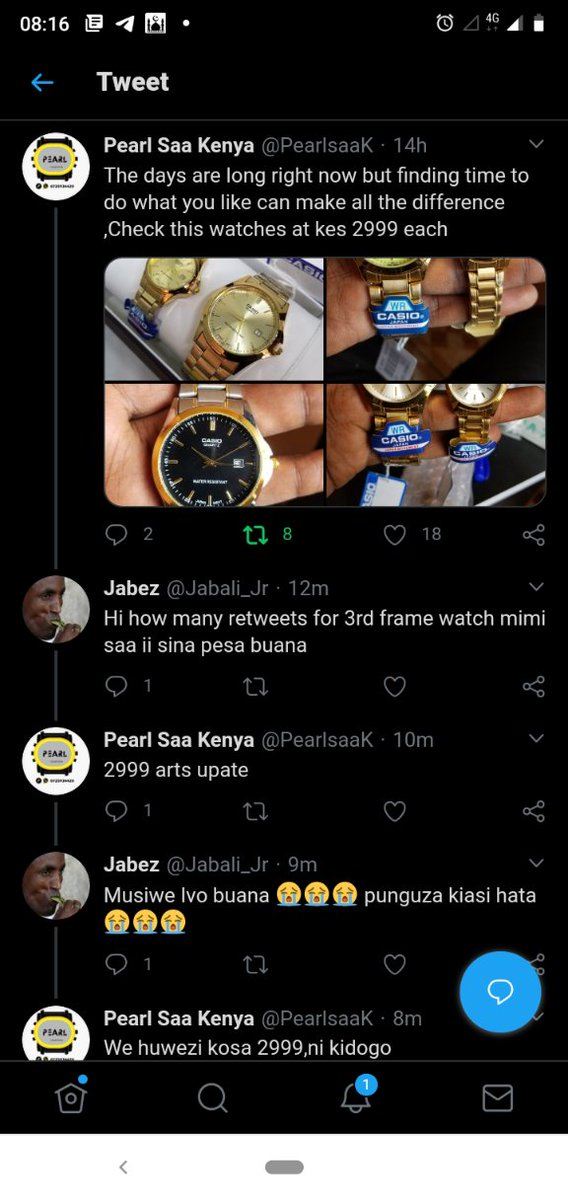 Your resident beggar is asking for 2999rts to get a Casio watch from @PearlsaaK . Hizo retweets zikam Saa-ii