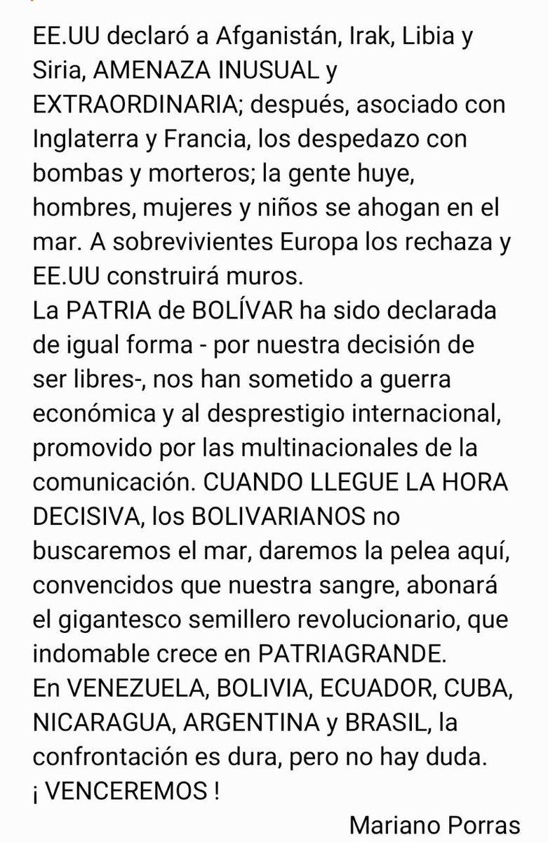 @vladimirpadrino Buen MIÉRCOLES 27 de MAYO. PATRIAGRANDE, de PATAGONIA, TIERRA DE FUEGO y MALVINAS, hasta RIO BRAVO, PUERTO RICO Y CARIBE. El camino INTEGRACIÓN. El objetivo SOBERANÍA. JORGE GLAS Vicepresidente de ECUADOR, preso por orden de los CORRUPTOS. https://t.co/l2474qirLs