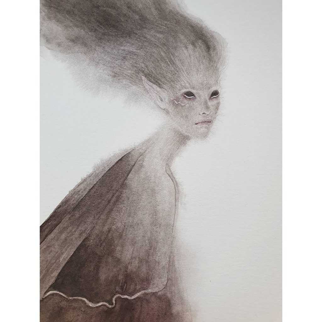 My #unseelie #fae - she is still looking for a good home, you'll find her in my shop in the original art section #watercolorpainting #painting #danielsmithwatercolor #fairy #folklore #folktales https://instagr.am/p/B_My2CCj2g3/pic.twitter.com/wLFsRMmZUW