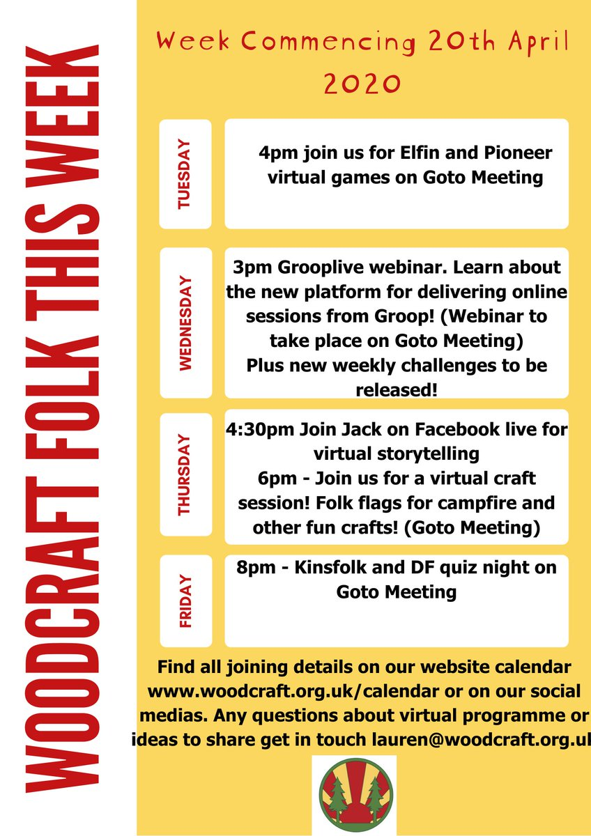 Coming up this week! Lots of exciting sessions, webinars and challenges to take part in! Something for everyone of all ages. Visit our website for joining details woodcraft.org.uk/calendar