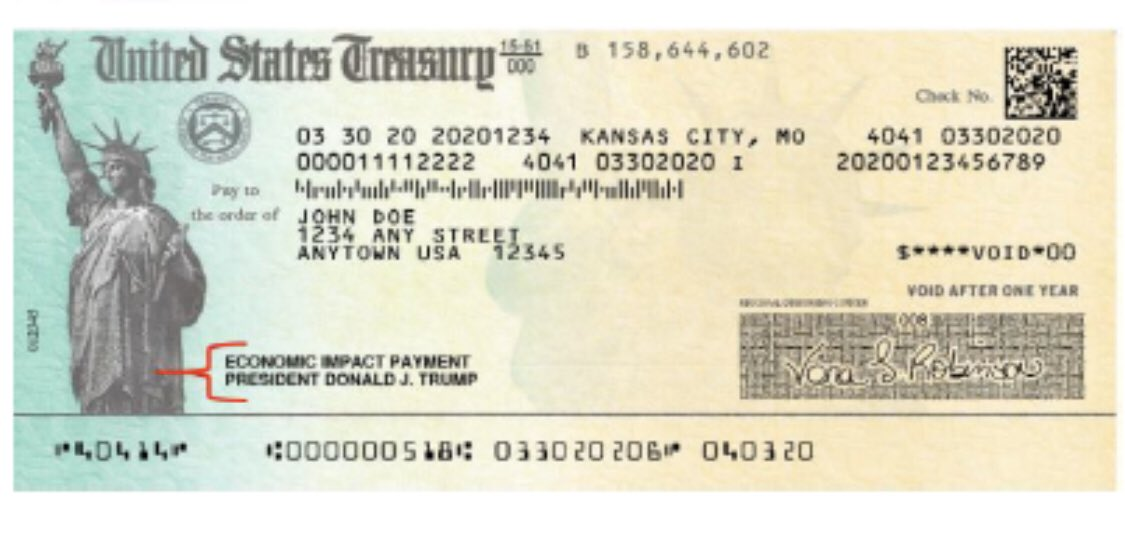 Here's what the Treasury checks with Trump's name look like