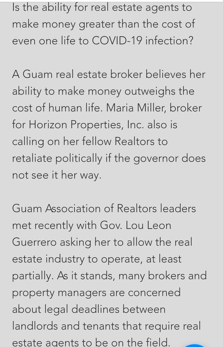 Maria Miller of Horizon Properties believes that paying and collecting rent is more important than human life.