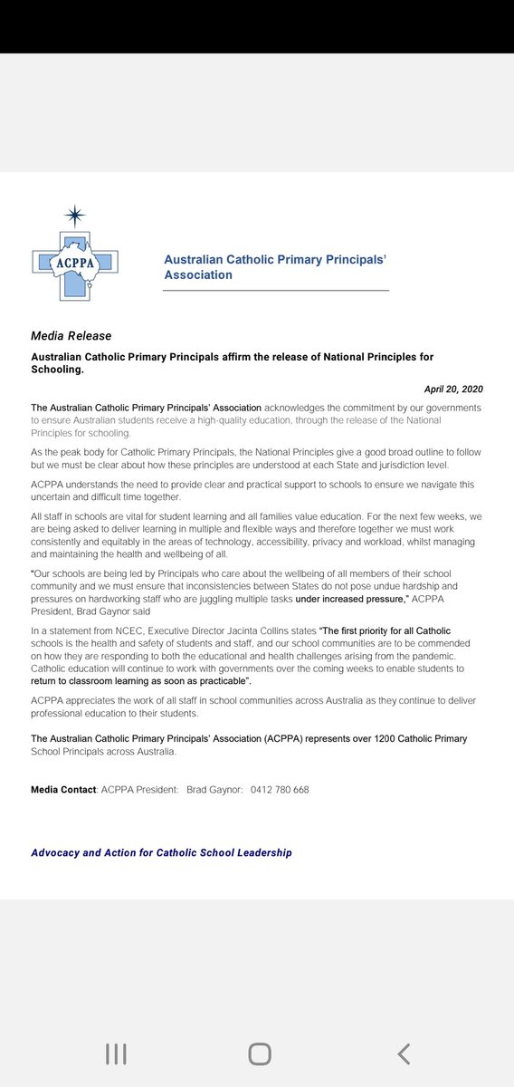 ACPPA's response to the National Principles for Schooling.