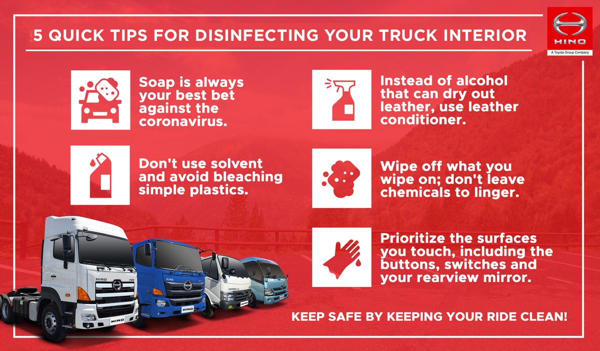 Hino Motors Ph On Twitter Let S Altogether Put Our Defenses Up Against Covid 19 By Observing Proper Sanitation In Our Vehicles Here Are Quick Tips To Keep In Mind In Cleaning The Interior