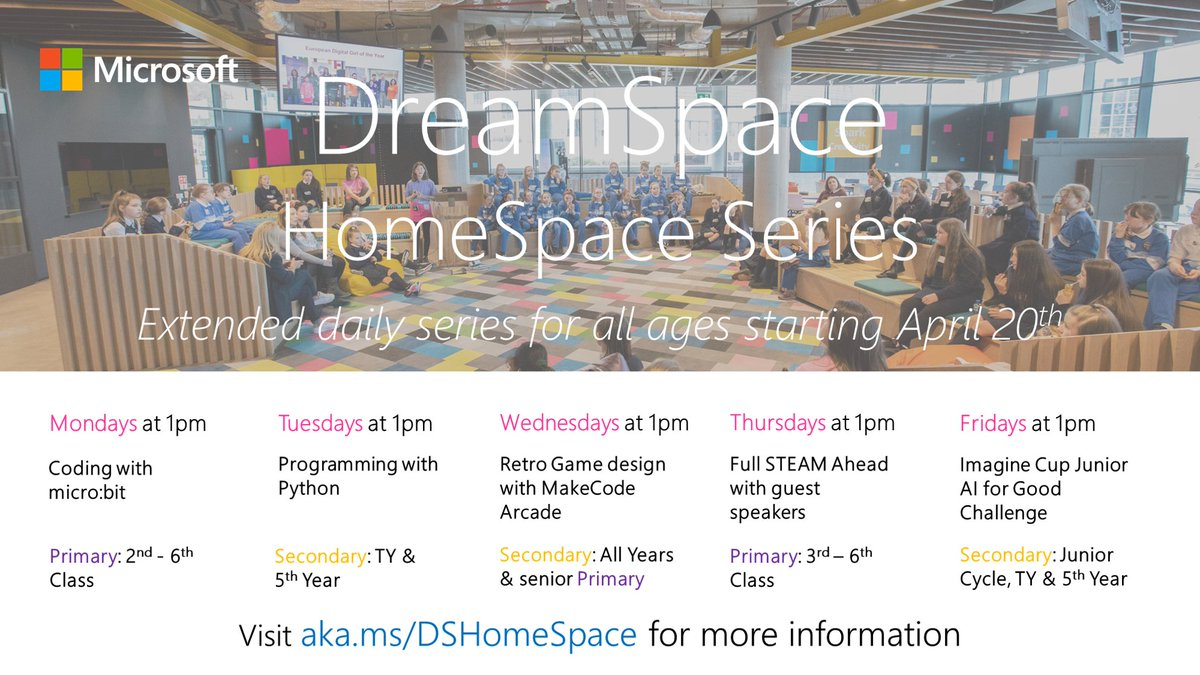 We hope our now daily #MSDreamSpace HomeSpace series can help parents, teachers & students of all ages engage in some fun & engaging STEM lessons at home in this new term. We're live at 1pm today with @MSMakeCode for micro:bit here https://t.co/F8R5WFcXUz #EdShareIE #MicrosoftEdu https://t.co/k1OBfmBssh