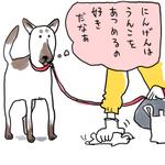 散歩中に落とし物を処理する人間の姿を見つめる犬の思考は…?人間はうんこをあつめるが好きなんだ!