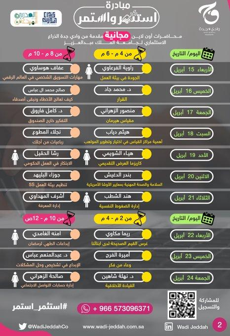 🔴 محاضرات عن بعد 🔴 تعلن شركة وادى جدة ( المملوكة لجامعة الملك عبدالعزيز ) عن 20 لقاء من مبادرة #استثمر_استمر للجنسين رابط التسجيل https://docs.google.com/forms/d/e/1FAIpQLScHb_MlhRaVNhepCVjNAvwqGJ3qasOtxMl9foArql0MNlIJ_Q/viewform #جدة_الأن #تدريب_عن_بعد #تدريب