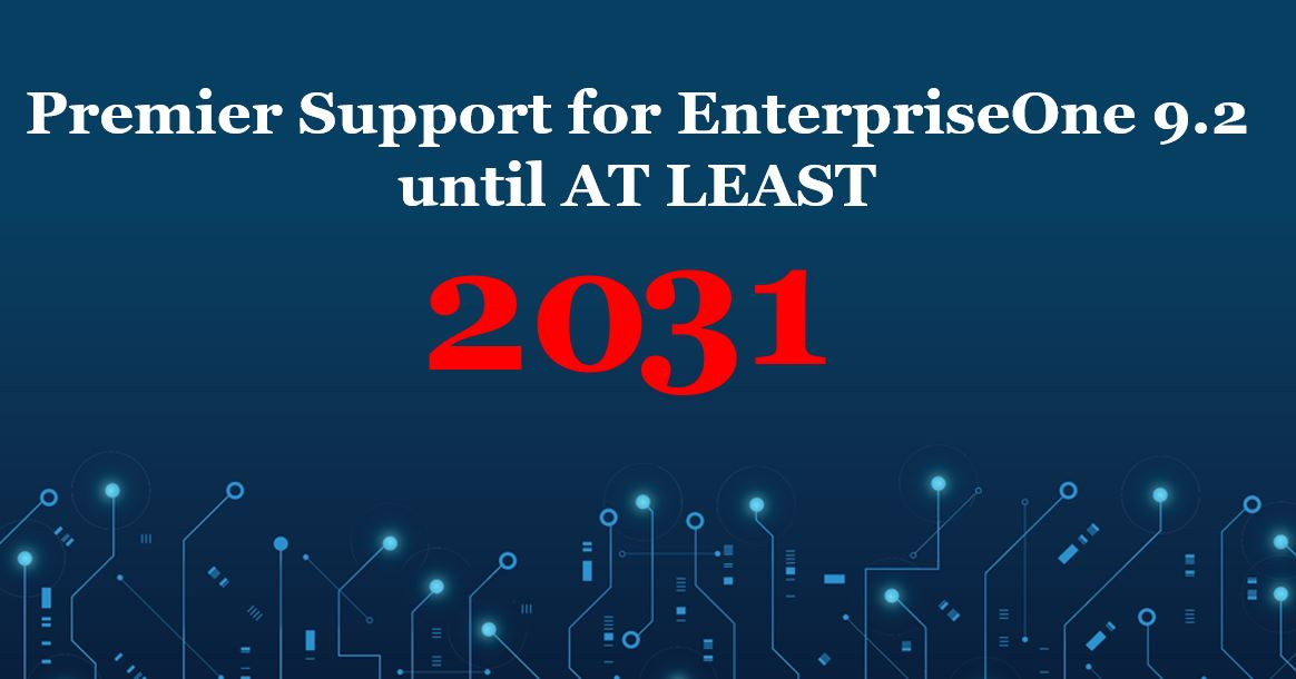 Announcing an extension to our Oracle Premier Support policy for #JDEdwards EnterpriseOne 9.2. Premier Support provides comprehensive maintenance and software updates for your EnterpriseOne 9.2 release through AT LEAST 2031. https://t.co/YVqfLC7TDq https://t.co/v6V1IGyGkq