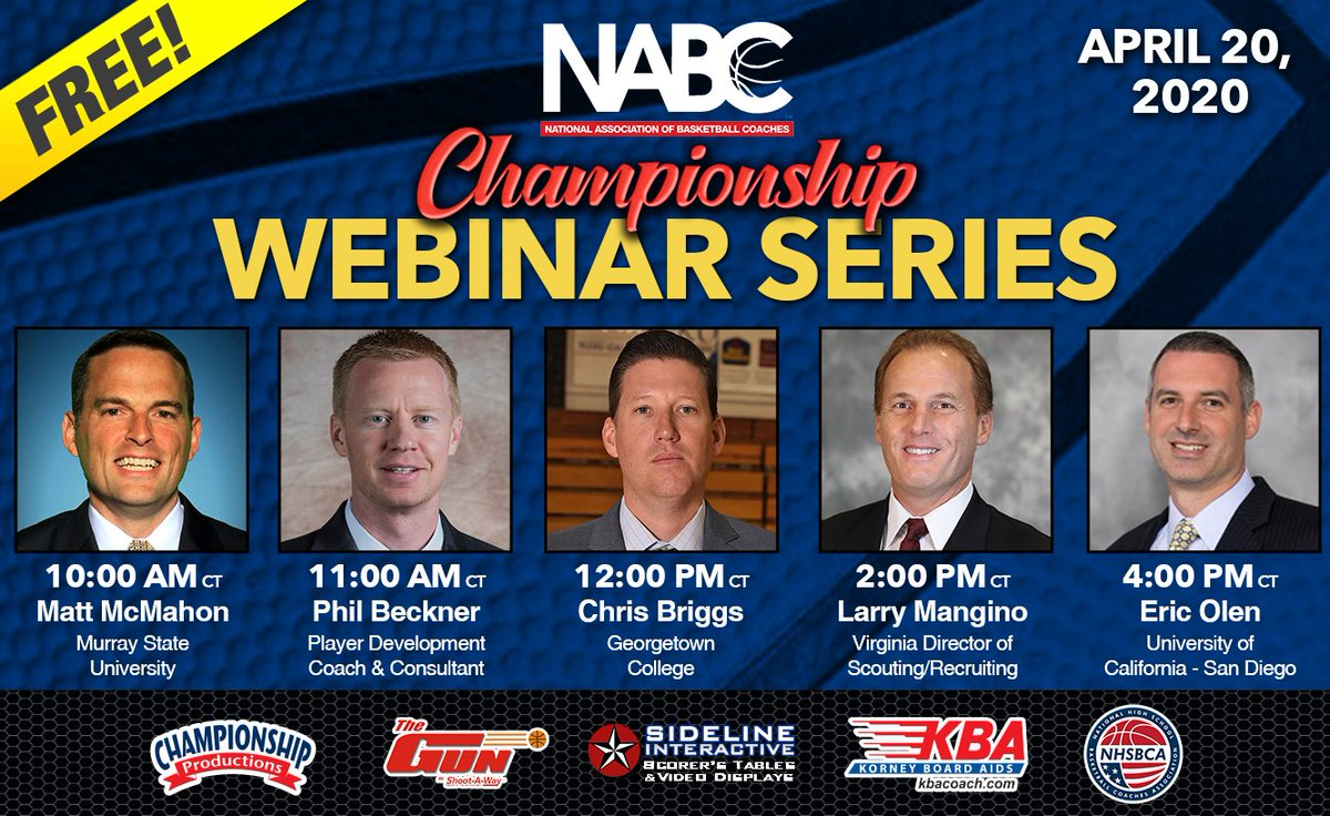 Welcome to the second week of the @NABC1927 Championship Webinar Series! We have 5 great sessions on the docket today:  - @CoachMcMahon, 11 ET - @PhilBeckner, Noon ET - @ChrisBriggsGC, 1 ET - @larrymangino, 3 ET - @CoachEricOlen, 5 ET  Sign up: https://t.co/GTta6dONgt  #KBAcoach https://t.co/jYRW3kAYoA