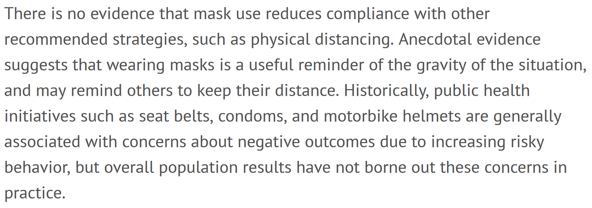 Won't wearing masks make people just be less careful about physical distancing?