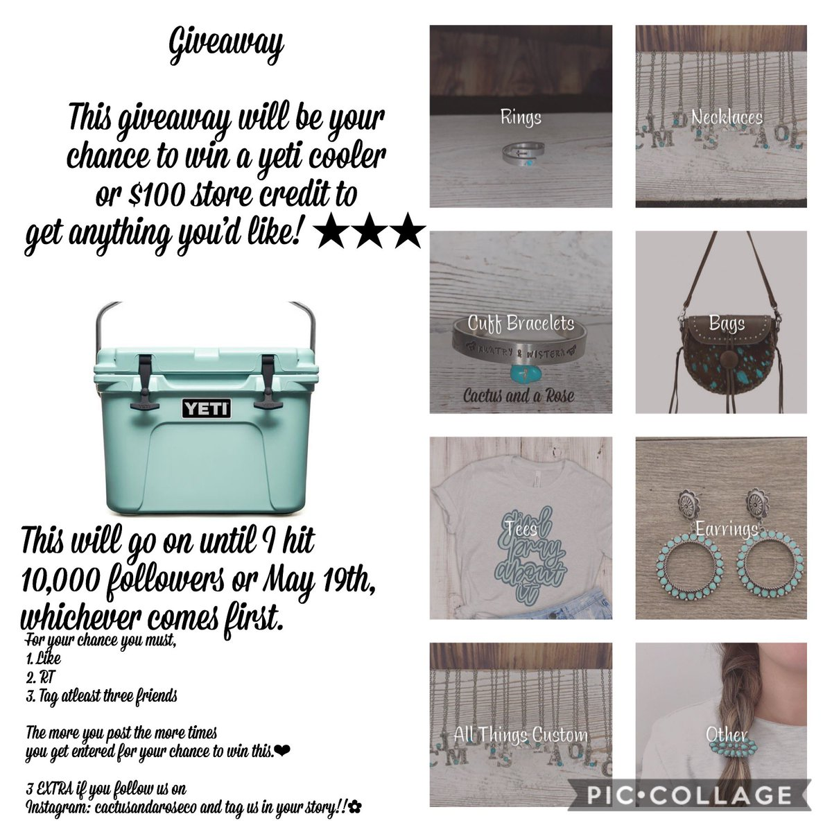 GIVEAWAY!! ツツ For your chance you must,  1. Like  2. RT 3. Tag atleast three friends  The more you post the more times  you get entered for your chance to win this.❤︎  3 EXTRA if you follow us on  Instagram: cactusandaroseco and tag us in your story!!✿