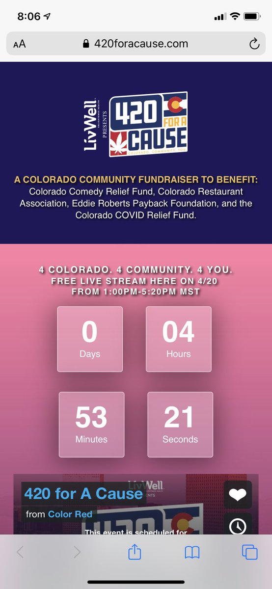 We are hours away from #420ForACause at https://t.co/Q4fKWLQjjC!  Come hang out and help us raise money for Service Industry Workers in Colorado, Musicians, Comediand and others!  Let's help the people in our community that can't work right now.  Big thanks to @LivWellCannabis! https://t.co/5Pi1o3Bek2
