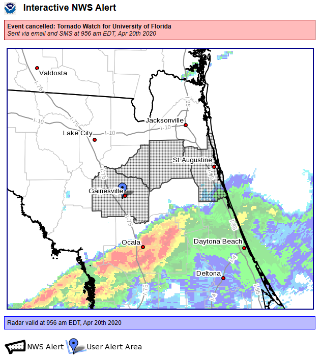 The earlier Tornado Watch which included the UF campus in Gainesville has been cancelled.
