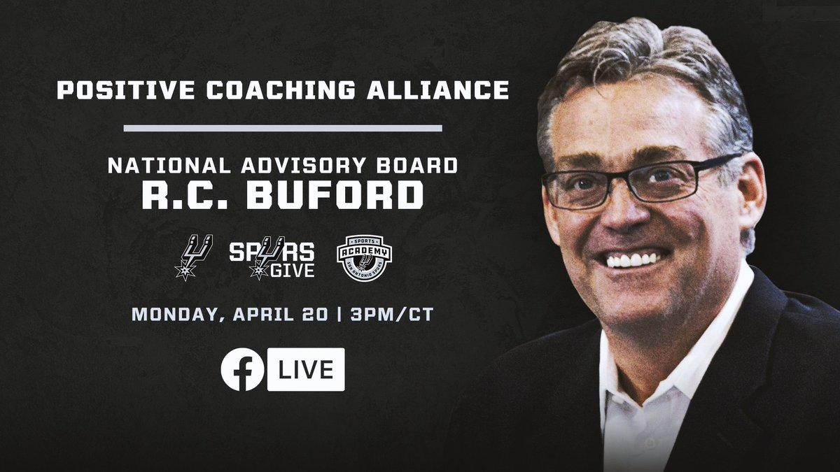 Spurs Sports & Entertainment CEO R.C. Buford is going LIVE with @PositiveCoachUS today to discuss the importance of teamwork, overcoming adversity and more!  Head to our Facebook page at 3pm CT to tune in! 💻 https://t.co/aHzytHPycI