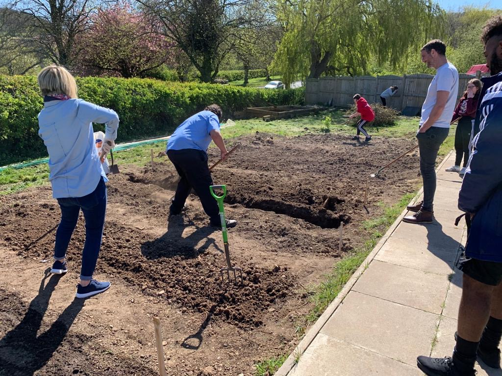 Great opportunity for our key worker students to get outside and learn. Can't wait to see the produce from the allotment! #ThriveWithHope