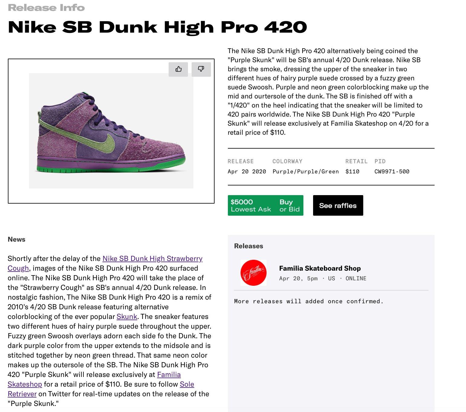 nike sb dunk high 420 raffle