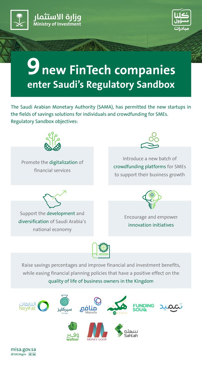 Great news for #FinTech in #SaudiArabia  The Kingdom's Monetary Agency, @SAMA_GOV, has permitted nine new startups to operate in its Regulatory Sandbox, which allows local and international firms to test their digital solutions with a view to deploying them in KSA. https://t.co/Tt6zTcjaNB