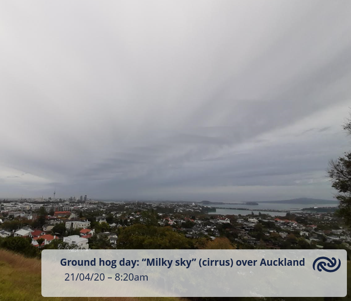 "Auckland: Even the weather thinks its Ground Hog day.....here's to another day with thick cirrus (""milky sky""). All the details, including some rain in the north, at bit.ly/AucklandWeather ^GG https://t.co/cSLNGeMHsj"