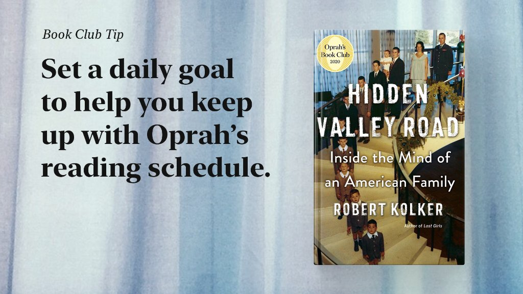 Need a little extra motivation to stay on track with the @oprahsbookclub reading schedule for Hidden Valley Road? Set your #ReadingGoals in the Apple Books app. Try starting with 10 minutes of reading a day. apple.co/ReadingGoalsOBC