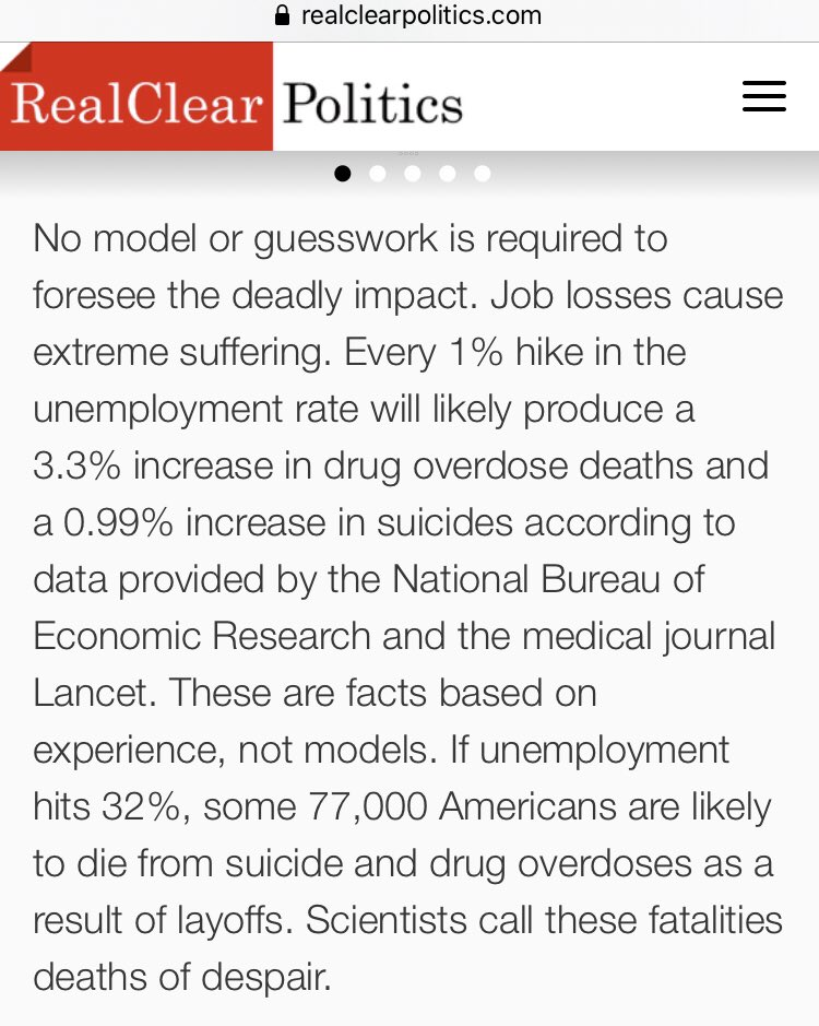 About the US:  In 2017, Drug ODs killed 70K.  In 2018, 48K died from suicide.  Every 1% increase in Unemployment (that holds for a year), increases ODs by 3.3% and suicides by 0.99%.  If unemployment averages 20% for 2020 instead of 3.5% it will add 38K ODs and 8K suicides. https://t.co/C6GyhN30b0