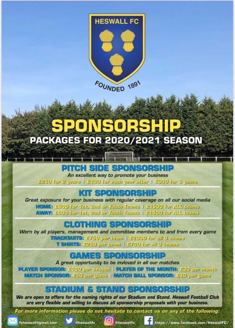 We recognise the challenge that many businesses currently face, we hope to work together to promote your business and help support this historic grassroots club. All packages can be tailored to suit your needs. Please retweet @heswallmagazine @HeswallToday @VisitHeswall ⚽️🟡🔵
