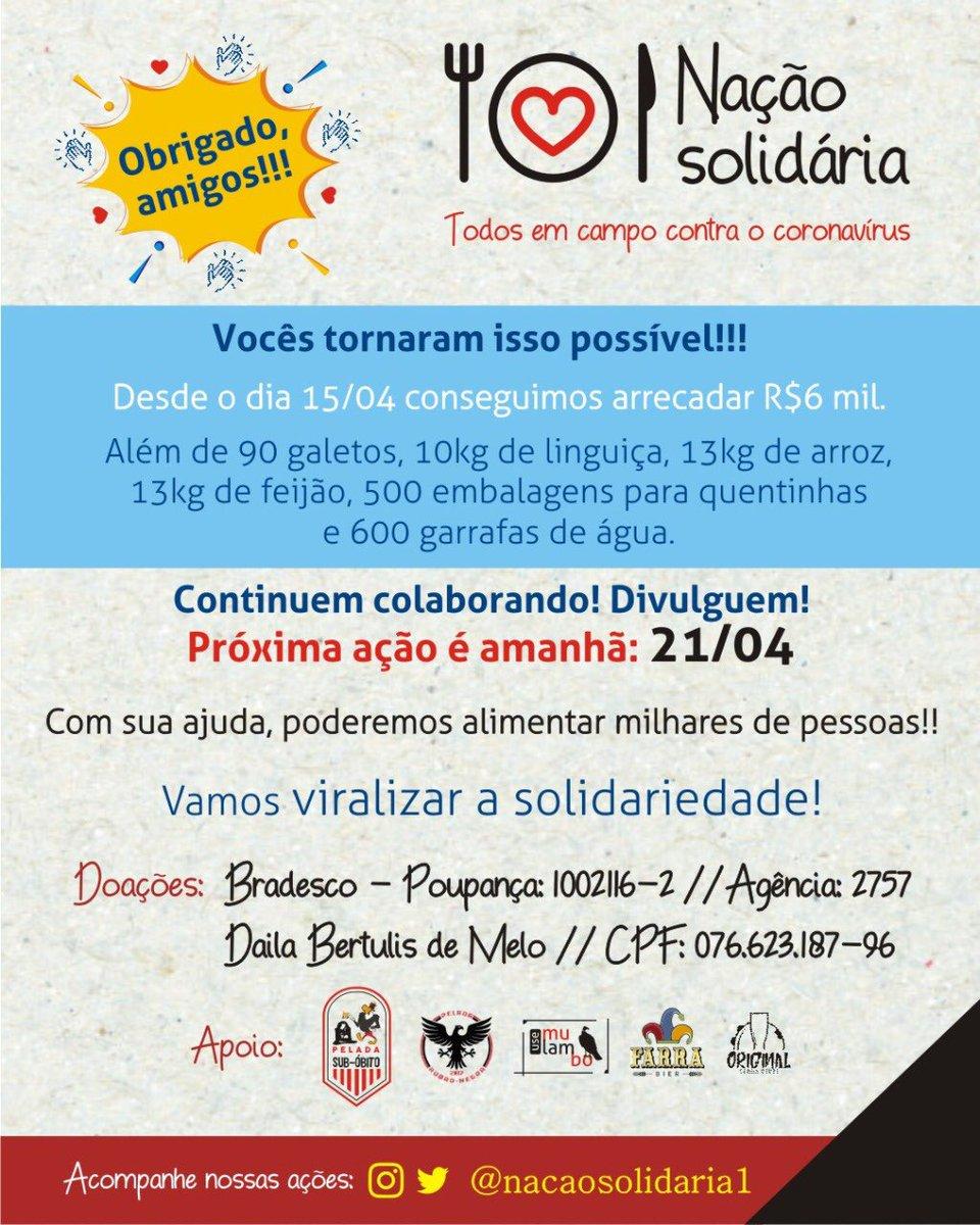 MUITO OBRIGADO, AMIGOS!!! Vocês fizeram acontecer!  Próxima ação é amanhã, 21/04!  Doe! Divulgue!  Vamos #ViralizarASolidariedade ❤️  #fazerobem  #fazerobemfazbem  #fazerobemsemolharaquem  #Solidariedade #tamojunto