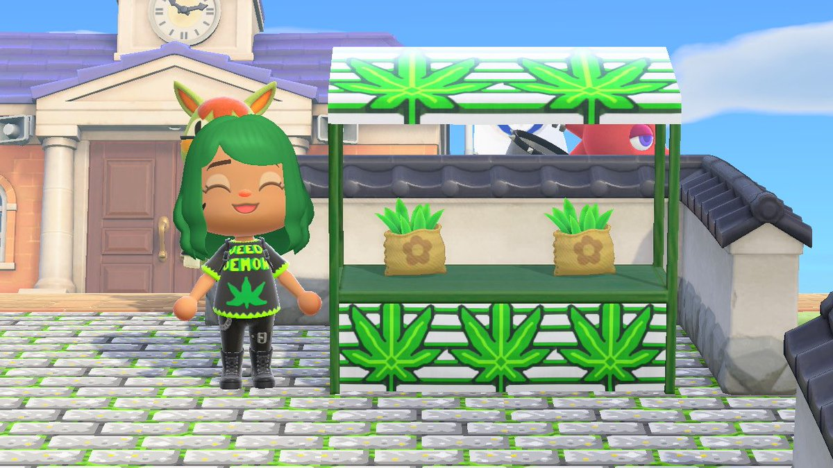 𝔎𝖊𝖘𝖍𝖎𝖆 On Twitter Made Two Weed Custom Designs With Qr Code S Available Acnh Animalcrossing Green One Is My Favorite