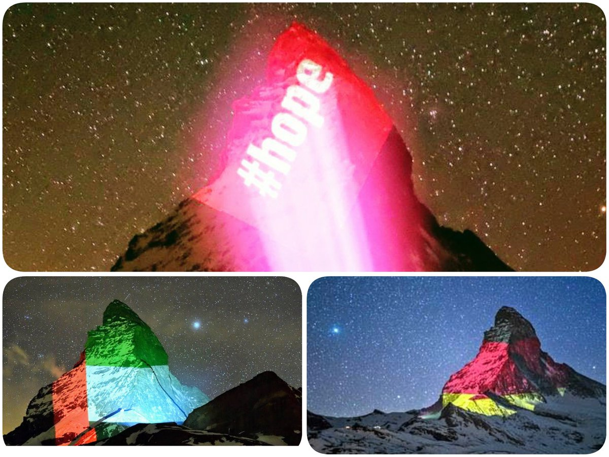 #Hope - a most valuable currency.  Light art by #gerryhofstetter projected on the #Matterhorn courtesy of @zermatt_tourism - where btw I have spent many happy skiing weeks 🎿 Many flags displayed, incl 🇦🇪 & 🇩🇪. #multilateralismmatters #GOODNEIGHBORS @SwissEmbassyUAE