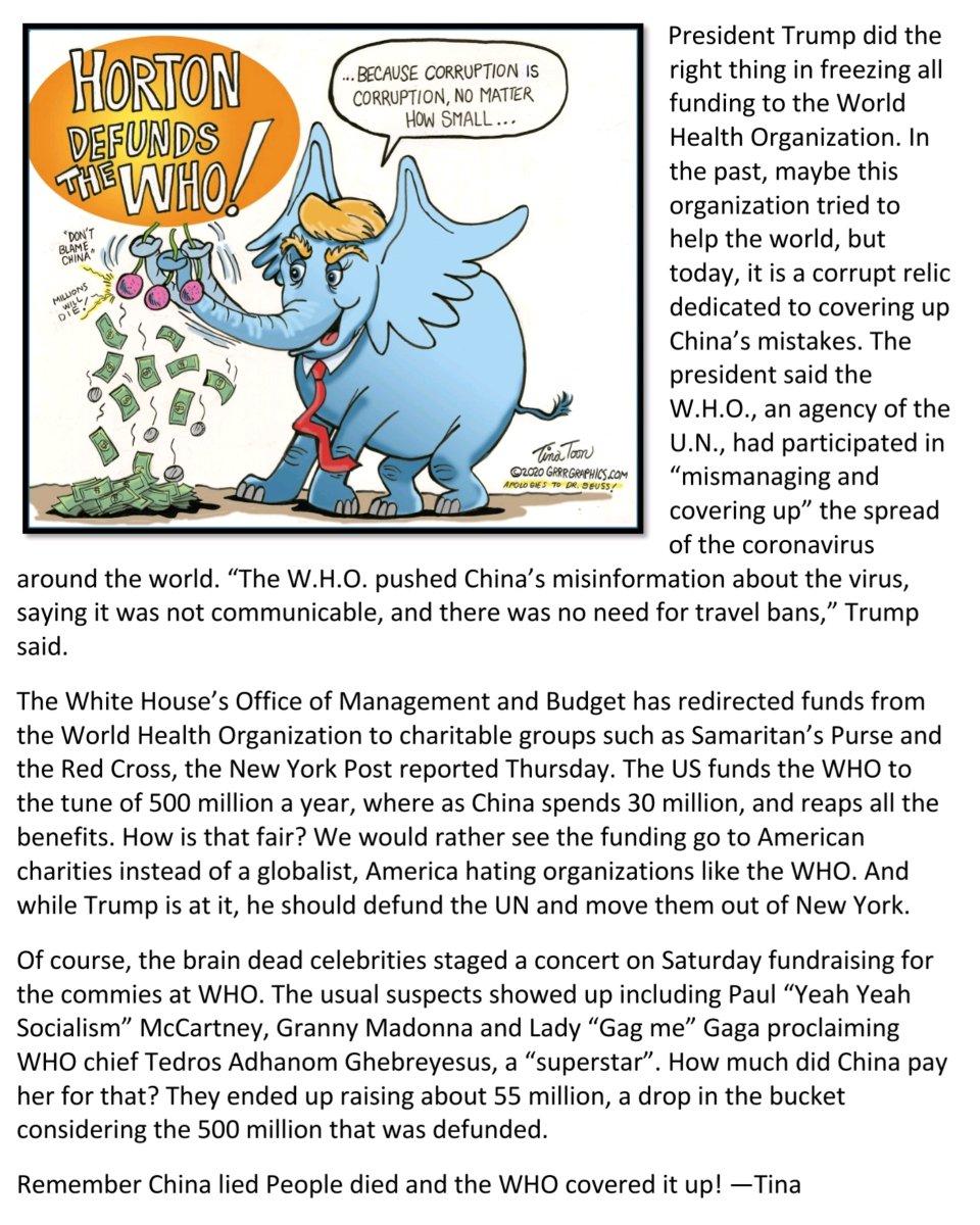 Accurate, humorous & cute cartoon by #TinaToon @GrrrGraphics Cartoons ⠀ ⠀ World Health Organization (WHO) #OMB @realdonaldtrump<br>http://pic.twitter.com/O60y0dV1Dk