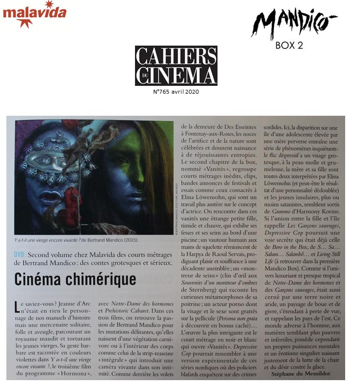 """""""CINÉMA CHIMÉRIQUE"""" Magnifique demi-page sur les films de #BertrandMandico réunis dans #MandicoBox2 dans les @cahierscinema ! Un grand merci à Stéphane du Mesnildot ! https://t.co/XywEkRer4z"""