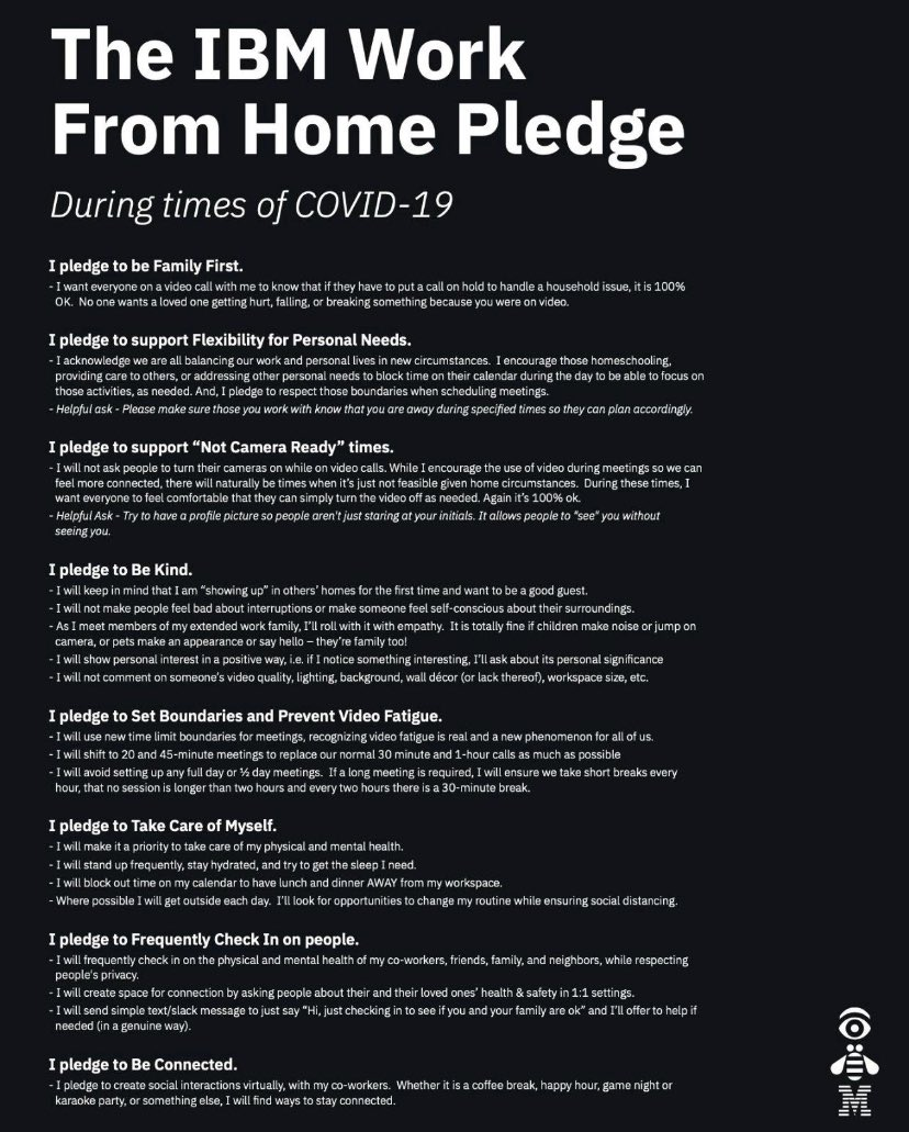With the exceptional times of #COVID19, we are all signing up to @IBM's #WorkFromHome #Pledge  - it is great to see IBM adapting working practises and putting employees first As a #ProudIBMer -  I pledge! https://t.co/8PjzOh9ljf