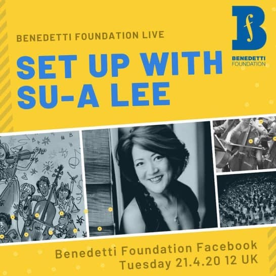 Let's join our Patron-in-Chief, Su-a Lee live today at midday on the Benedetti Foundation page! https://t.co/P9OlYSbI2f  Something in it for everyone (students, teachers and parents), even if you're not a cellist... @pkcMusicService #stayathome  #musicmatters https://t.co/BRFqrjSphU