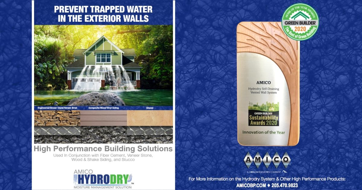 Continuous product development always requires change. With customers in mind, #AMICOBuildingProducts is pleased to be the recipient of the #GreenBuilderAward🌳for our #HYDRODRY Self Draining & Venting Wall system. #Innovation our customers can count on!➡️https://t.co/KMc0QKYBsC https://t.co/h49bNIF8H4