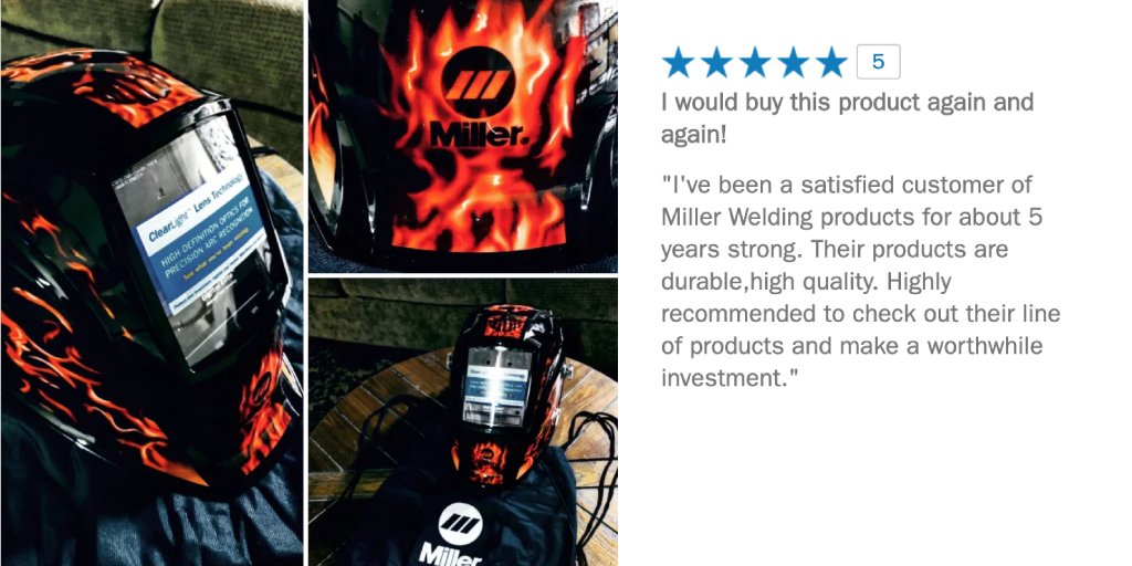We read every review and are proud to see a review like this on the Digital Elite™ Helmet. Designed by welders for welders, our products help you perform at your best. Thank you to all the welders that choose blue! https://t.co/CB2IS2IAEh #MillerWelders #MillerWeldingHelmet https://t.co/Y27zdrhOcY