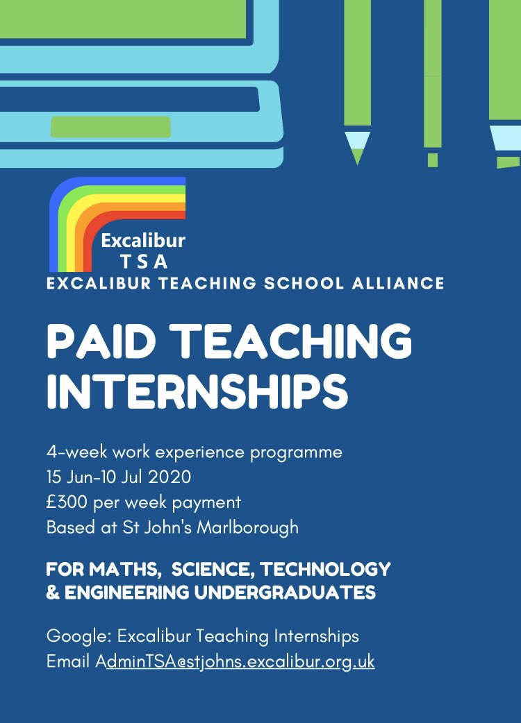 We're still planning to offer our paid teaching internships for STEM undergraduates at St John's Marlborough this summer. Apply now! More information on our website: https://t.co/y0wycp5N9u