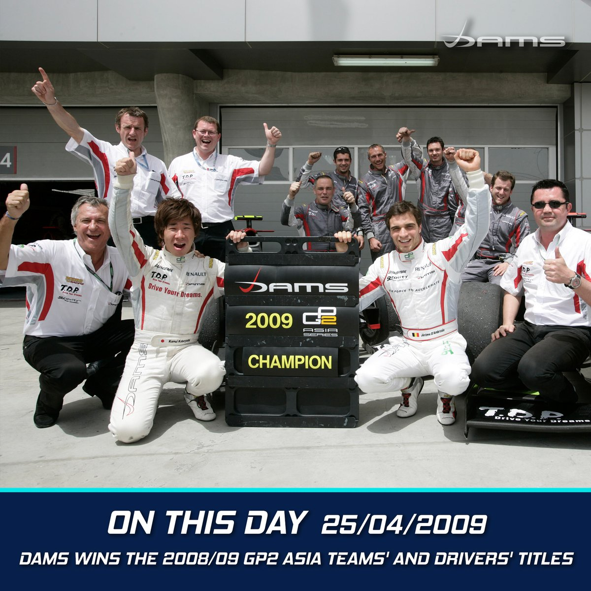 #OnThisDay DAMS won the 2008/09 GP2 Asia title, with @kamui_kobayashi and @thereal_JDA finishing first and second in the drivers' championship!  #AllezLesBleus https://t.co/Qn9iMQ0swB