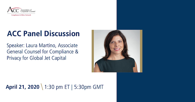 Laura Martino will be sharing her expertise today during the @ACCinhouse Compliance & Ethics Network's U.S. Sanctions call where she will be discussing issues and trends related to sanctions and compliance. #bizav #aviation